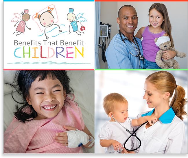 Benefits that Benefit Children logo and montage of hospitalized children